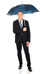 Full length mature businessman with umbrella