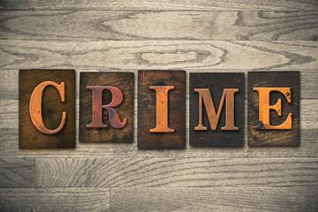 Crime Concept Wooden Letterpress Type
