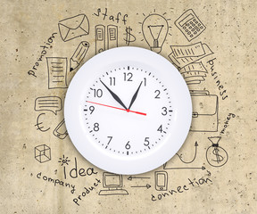 Business concept drawing around wall clock