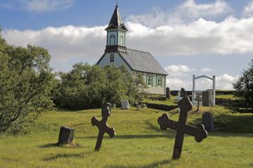 Island Pingvellir Kirche Friedhof