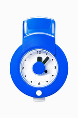 Blue wall clock isolated on white