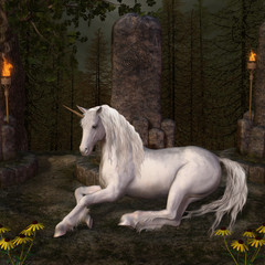 Beautiful unicorn in a glade