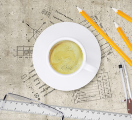 Technical plan of building, pencils, ruler, compasses,
