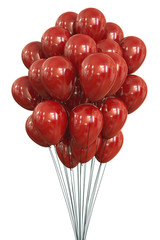 Red Balloons. Clipping path included.
