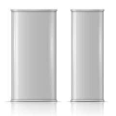 Tin oil can, front and side view
