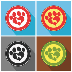 Love Paw Print Modern Flat Design Icon. Collection Set