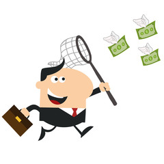 Happy Manager Chasing Flying Money With A Net.Flat Design Style