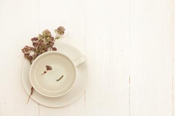 A cup of organic thyme tea (thymus serpyllum)