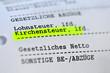 Leinwanddruck Bild - Kirchensteuer, Abzüge, Lohnsteuer, Gehaltsabrechnung, Finanzamt