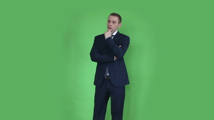 business man thinking green screen