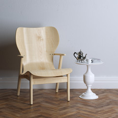 New interior design with wooden armchair. Coffee time.