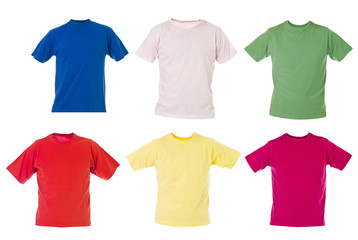 T-shirts on white background