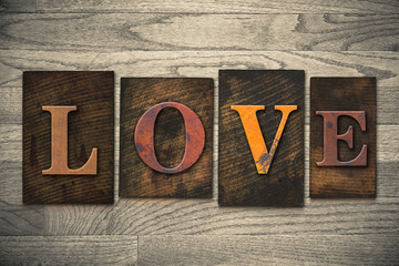 Love Concept Wooden Letterpress Type