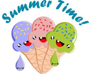 Summer Time Kawaii Cute Ice Cream Cones