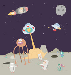 Galaxy war between humans and aliens