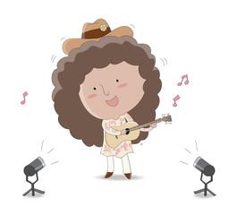 Cute girl playing ukulele