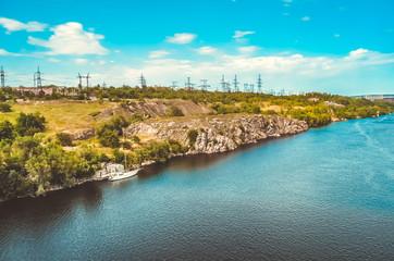 Beautiful landscape of the Dnieper River, Khortytsya