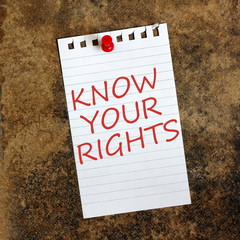 Know Your Rights reminder pinned to a grunge background