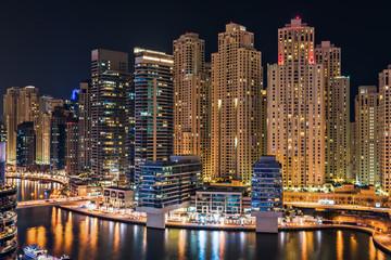 Dubai Marina illuminated at night