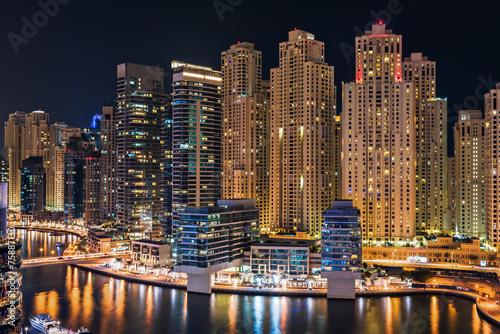 Fototapeta Dubai Marina illuminated at night