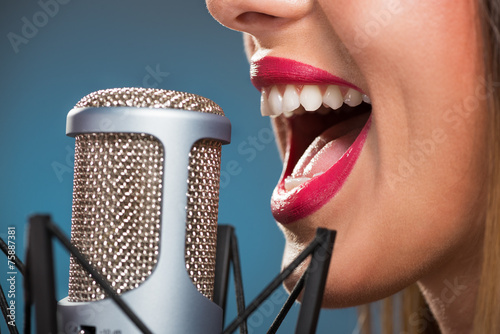 Singing Woman's Mouth Poster