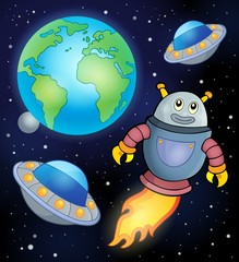 Space theme with flying robot