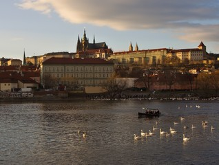 Prague castle and Riverbank of Vltava river in Prague in winter