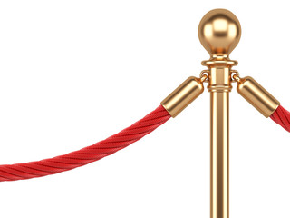 closeup gold stanchions with rope