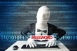 Hacker in morph 3d mask stealing password