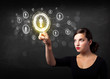Modern businesswoman touching future technology social network b