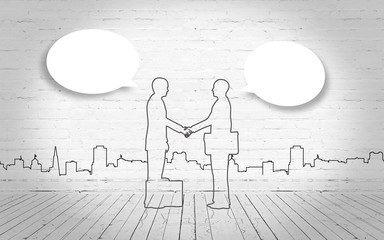 Two business man shake hand silhouettes city