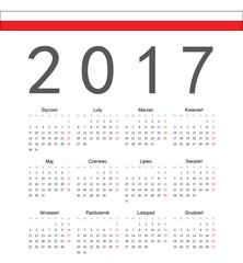 Simple Polish 2017 year vector calendar