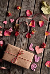 Word Love and gift box