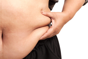 fat woman isolated podgy corpulent  rotund  tubby  plump
