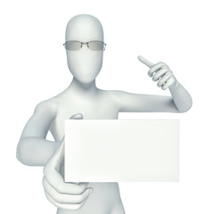 3d person showing blank small business card