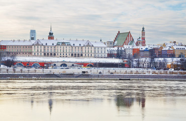 Royal Castle at winter in the Old Town of Warsaw, Poland.