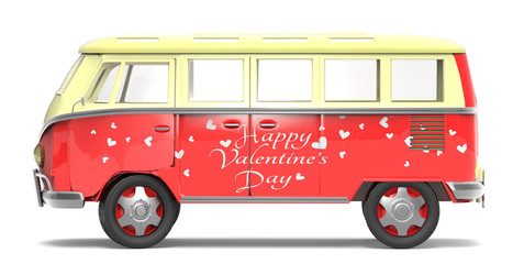 Hippie bus with hearts