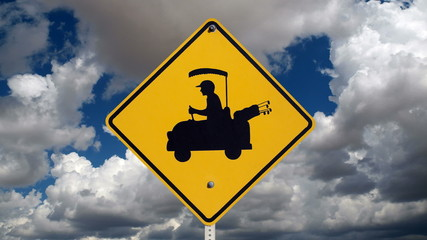Golf Cart Crossing Safety Sign with Time Lapse Sky