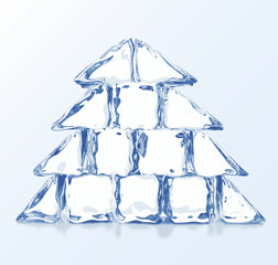 Vector Christmas tree builded from ice blocks