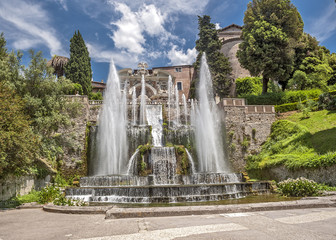 Cascade beautiful fountains at the famous Villa d'Este in Tivoli