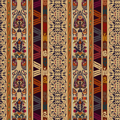 Seamless ethnic pattern with abstract flowers fantastic. Decor f