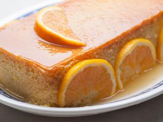 Orange custard in a studio shot.