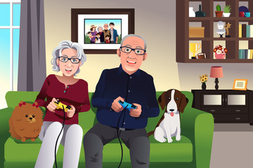 Elderly couple playing games at home