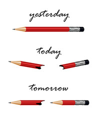 Red pencil, metaphor for solution, strategy, challenge,progress