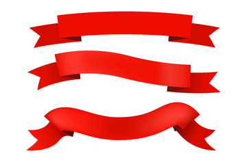 Set of red ribbons for design. Vector illustration