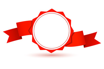 Design element--emblem with a red ribbon. Vector illustration