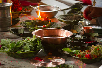 Offering during hindu puja in Nepal