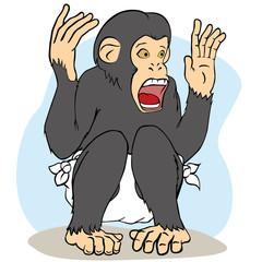 Wild animal illustration baby chimpanzee monkey