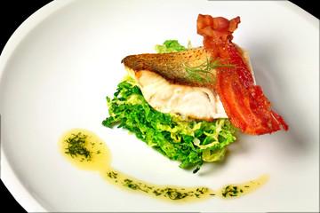 Fisch mit Wirsing und Bacon