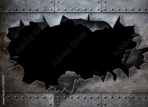 hole in metal armor steam punk background - 75893193